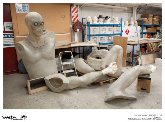 The fibreglass bodies of the large scale sculptures. Photo by Weta Workshop.