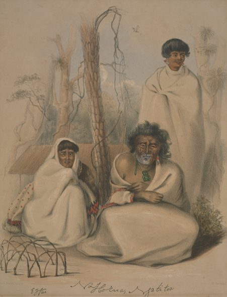 Na Horua or Tom Street(elder brother of Rauparaha) E Wai,his wife. Tuarau, or Kopai, his son. At Kahotea, near Porirua., 1844, by George Angas. Acquisition history unknown. Te Papa (1992-0035-710)