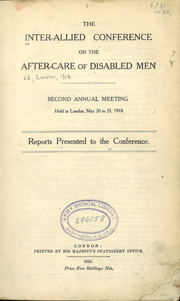 Front page of the conference report. Inter-allied conference on the after-care of disabled soldiers