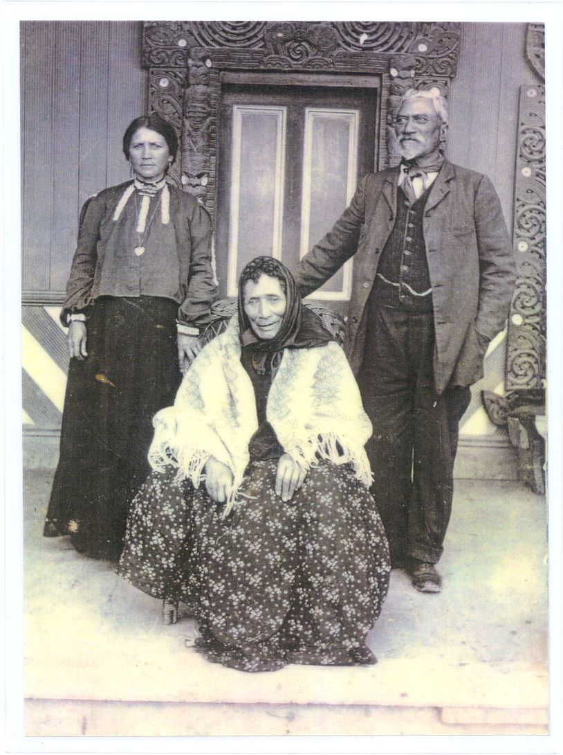 Erenora Tūngia (seated) with Wineera Te Kanae, a great-grandson of Te Rauparaha, and wife Hāna Wineera. Erenora was with her mother, Te Rongo, when she was a accidentally shot at the Wairau Incident on 17 June 1843.