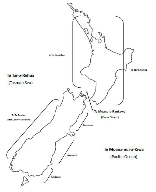The seas and coastlines of Aotearoa