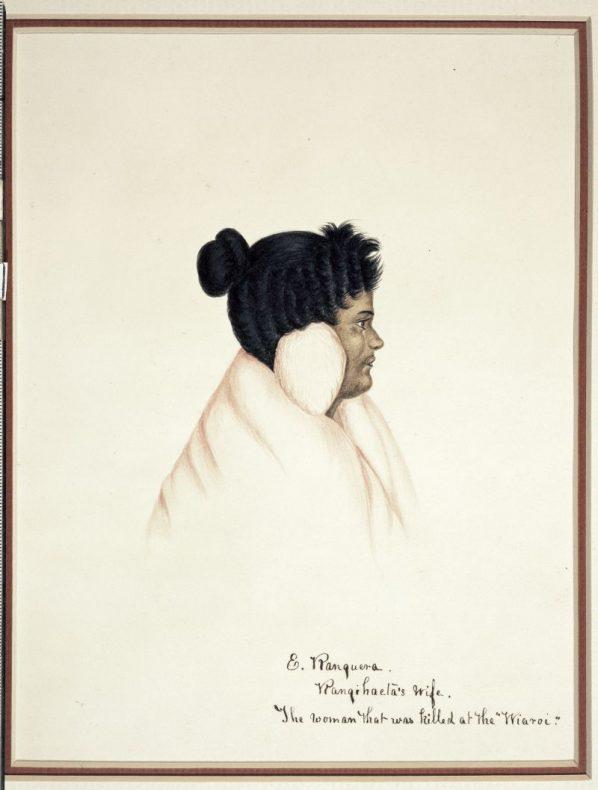 "Coates, Isaac. E Ranguera. Rangiahaeta's wife. The woman that was killed at the ""Wiaroi"". [1843?]. Ref: A-286-015. Alexander Turnbull Library, Wellington, New Zealand."