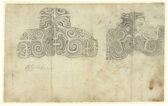 Two unidentified moko from the Blenkinsop Indenture. Deed of sale for Cloudy Bay from Te Rauparaha, Te Rangihaeata, et al to John Blenkinsopp October 1832. Archives New Zealand Te Rua Mahara o te Kāwanatanga (NZC133 24/1)