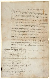 Deed of sale for Cloudy Bay from Te Rauparaha, Te Rangihaeata, et al to John Blenkinsopp October 1832. Archives New Zealand Te Rua Mahara o te Kāwanatanga (NZC133 24/1)