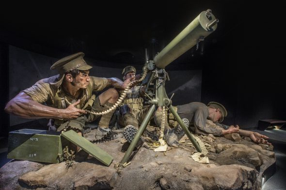 Model of the Māori machine-gun contingent, made by Weta Workshop, Gallipoli: The scale of our war. Te Papa (photo by Norm Heke)