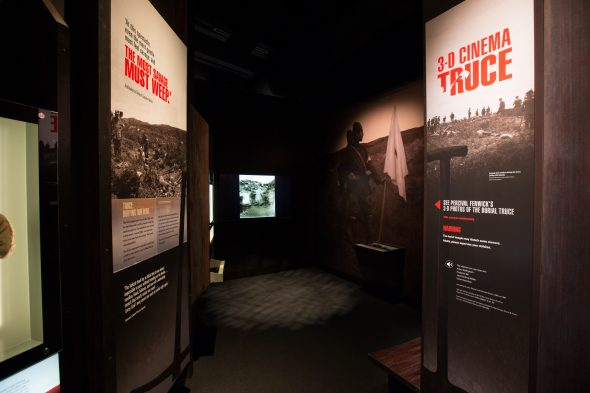 Veterans' accounts of the burial truce are played in teh 3D cinema in Gallipoli: The Scale of our war. Te Papa (photo by Norm Heke).