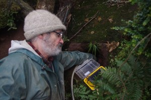 Te Papa staff member Jean-Claude using the burrowscope to check the identity of a Westland petrel in a study burrow. Image: Colin Miskelly, Te Papa