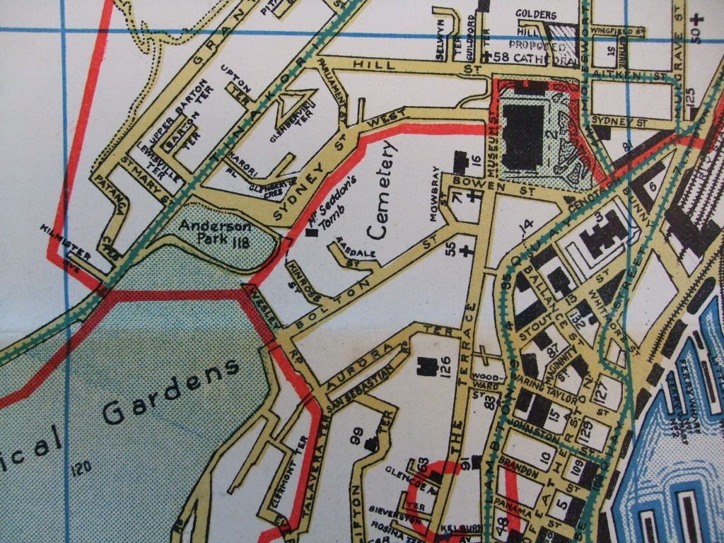 Detail from street map of greater Wellington, Ferguson & Osborn Ltd, circa 1930