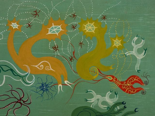 Painting of biomorphic organisms by Len Lye