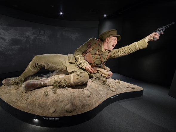 Model of Lieutenant Spencer Westmacott, made by Weta Workshop, Gallipoli: The scale of our war. Te Papa (photo by Norm Heke)