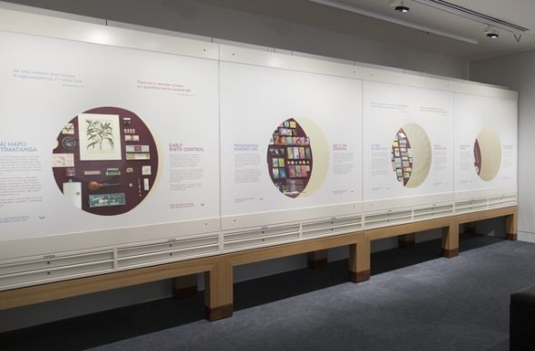 View of display cases in the exhibition Contraception: Uncovering the collection of Dame Margaret Sparrow