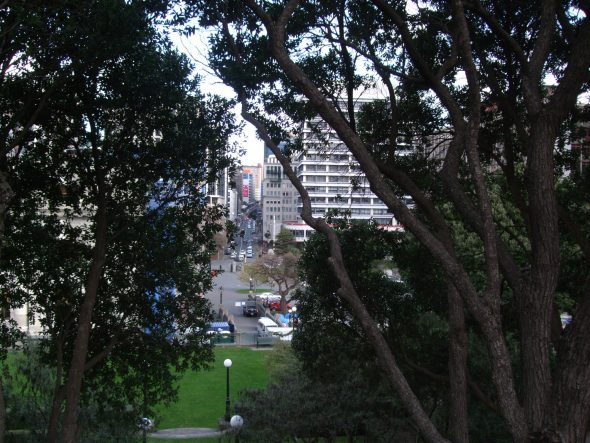 View of Museum Street from Hill Street, Thorndon, 23 July 2015. Photo by Kirstie Ross