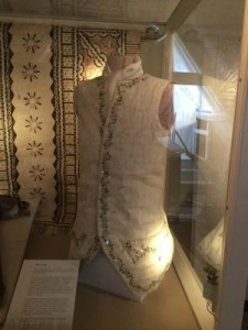 Alison Larkin's replica of Captain Cook's waistcoat on display at the Captain Cook Memorial Museum, Whitby, 2015. Photo courtesy of Alison Larkin.