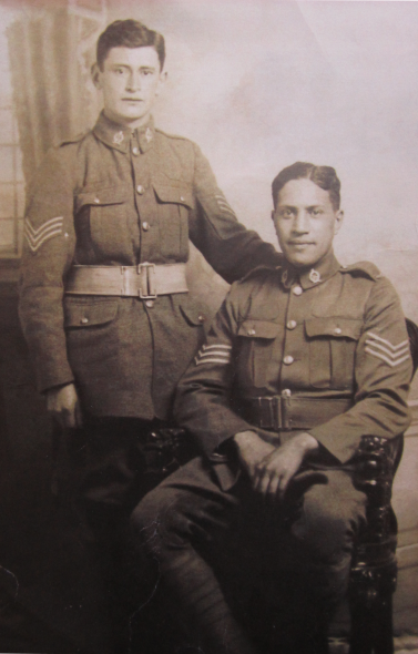 Figure 7 Rikihana Carkeek and Harry Jacob as Sergeants, post-Gallipoli. Image courtesy of the Carkeek Whānau.