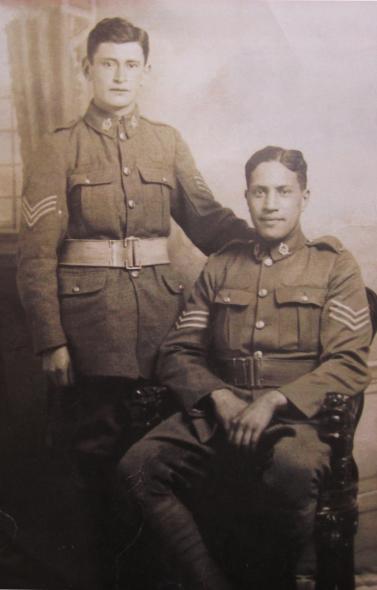 Figure 7 Rikihana Carkeek and Harry Jacob as Sergeants, post-Gallipoli. Image courtesy of the Carkeek Whānau.