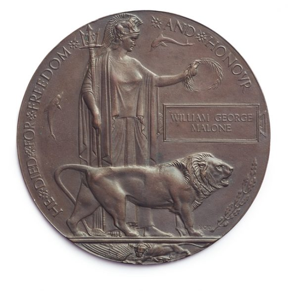 Memorial plaque ('Dead Man's Penny') 1919–21.