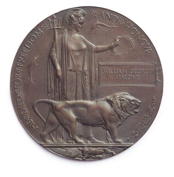 Memorial plaque ('Dead Man's Penny') 1919–21.