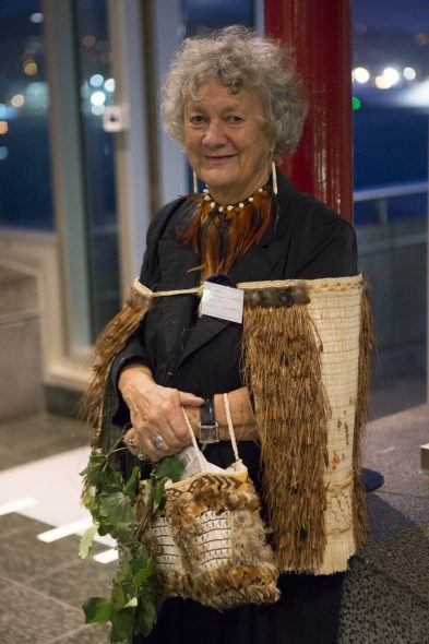 Nellie Carkeek, daughter of Rikihana Carkeek. Gallipoli exhibition opening, April 2015. Image copyright, Te Papa. 2015.