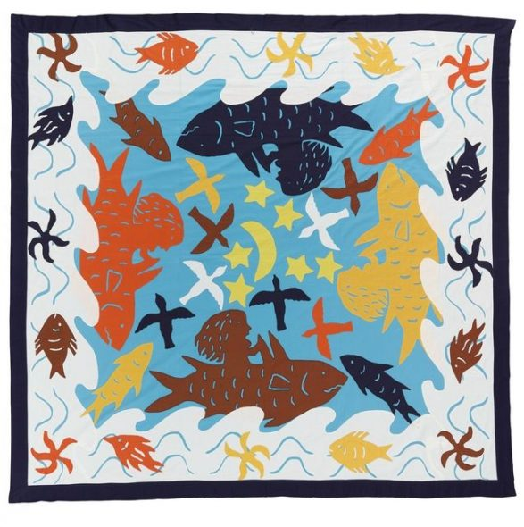Tïvaevae 'Ina and the shark' (quilt), circa 1990, Cook Islands, by Group of Mamas: Maria Teokotai, Iva Cecil, Agnes Winchester, Noo Ngatuakana, Ake Mateariki, Mata Andrew, Nga Ponini, Aue Brown, Suzanne Moo. Purchased 1992 with New Zealand Lottery Grants Board funds. Te Papa (FE010090)