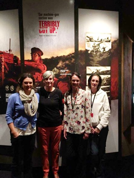 Michele Kett and her daughters, visiting the Gallipoli exhibition. Photographed by Puawai Cairns, April 2015. Copyright, Te Papa 2015.