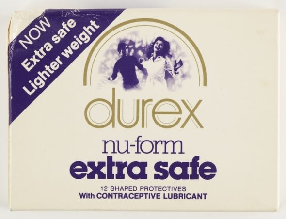 Box of durex nu-form extra safe condoms.