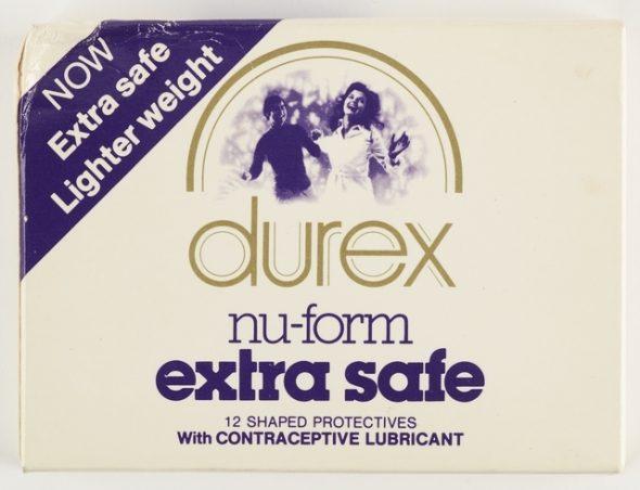 Box of durex nu-form extra safe condoms.