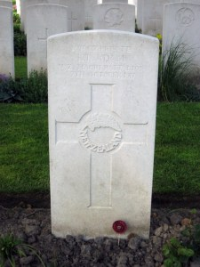 Photo of Kiro Luke Adam's headstone in Belgium