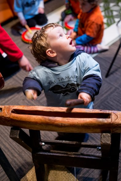 Playing Pasifika drums, Photographer: Michael Hall, © Te Papa