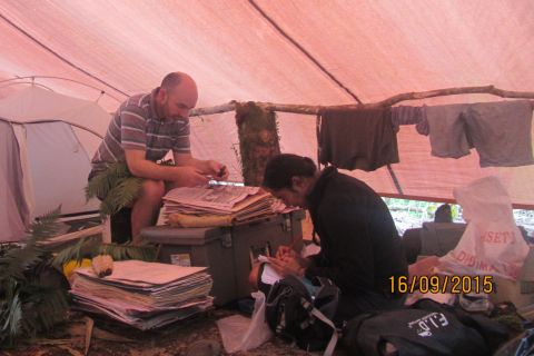 Sarah and I taking advantage of dry space under one of the sleeping tarpaulins to press and identify our fern collections. Photo courtesy of Sarah Pene.