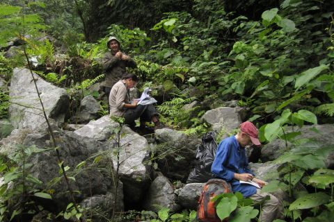 Me, Sarah Pene (University of the South Pacific), and Shelley James (Florida Museum of Natural History) collecting plants. At the floor of a valley near base camp. Photo © Matt Renner, used with permission.