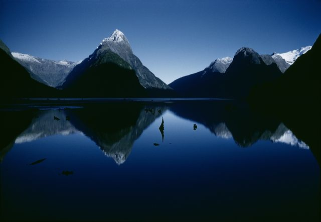 Mitre Peak, Milford Sound, 1960, New Zealand, by Brian Brake. Gift of Wai Man Lau, 2010. Te Papa (CT.062484)