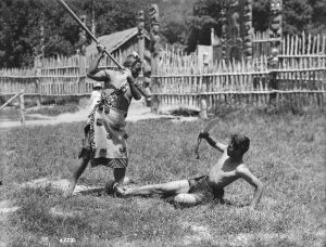 Maori combat with Taiaha and Mere 1906 McDonald James - photocopy