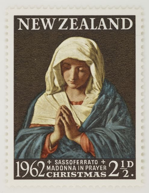 issued two and a half penny madonna in prayer sassoferrato christmas stamp 1962 london by harrison sons ltd the new zealand post museum collection