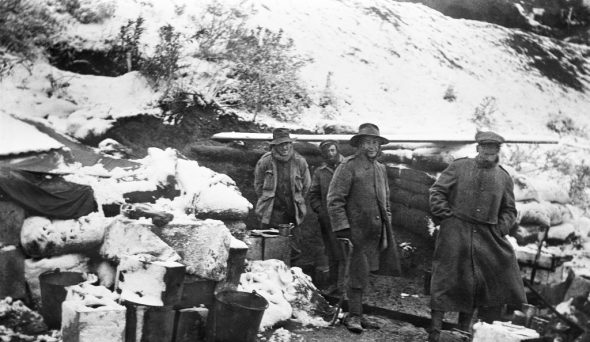 A kitchen in the snow, November 1915. Photograph by Charles Edwin Woodrow Bean. Australian War Memorial (G01263)