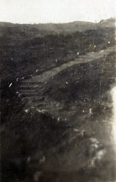 A path marked with stones, used during the final nights of evacuation from Anzac Cove, December 1915. Photograph by Norman Prior. Wairarapa Archives (11-72/4-2-25.digital)