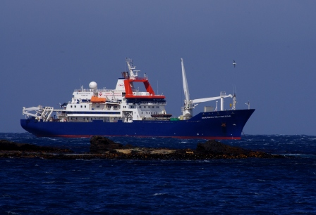 Marion Dufresne at anchor off the Crozet Islands. Image Colin Miskelly, copyright IPEV/Te Papa