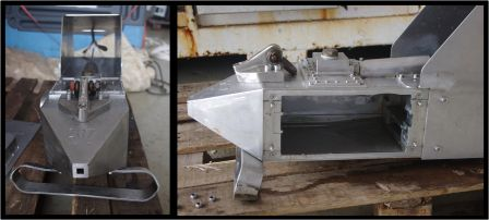 External views of the continuous plankton recorder. Left: front view. Right: side view, with the internal mechanism removed. Images by Colin Miskelly, copyright IPEV/Te Papa