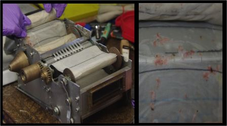 Continuous plankton recorder internal mechanism, with examples of captured krill on the right. Images by Colin Miskelly, copyright IPEV/Te Papa