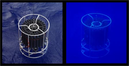 The rack of hydrological survey bottles being lowered (left) and returning to the surface (right). Images by Colin Miskelly, copyright IPEV/Te Papa