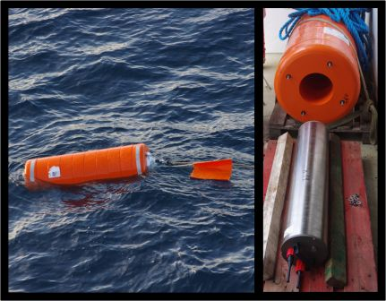 Whale hydrophone inside a buoy during recovery after a year under the sea (left); whale hydrophone removed from the buoy (right). Images by Colin Miskelly, copyright IPEV/Te Papa