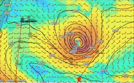 Tropical cyclone Corentin. The red line shows the original course that the Marion Dufresne was supposed to take. Image copyright IPEV