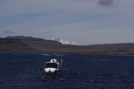Squirrel helicopter and Mont Ross, Isles Kerguelen. Image by Colin Miskelly, copyright IPEV/Te Papa