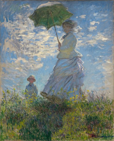 Woman with a Parasol - Madame Monet and Her Son, 1875 by Claude Monet . Oil on canvas. Collection of Mr. and Mrs. Paul Mellon. Courtesy of the National Gallery of Art, Washington
