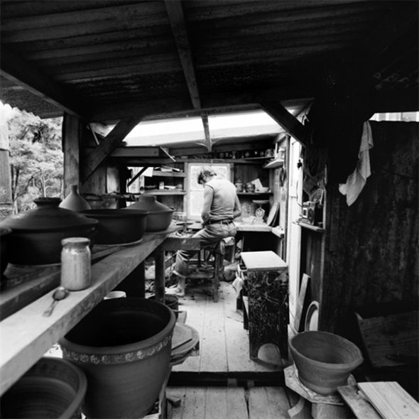 Photo of Barry Brickell at his studio, 1977