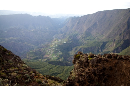 The view from the cabin when we awoke – looking south over Cirque de Cilaos to the south coast of Reunion Island. Image: Colin Miskelly, Te Papa