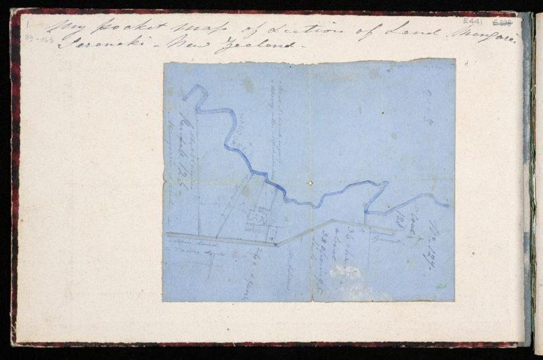 Artist's map of the land he owned at Mangorei, Taranaki
