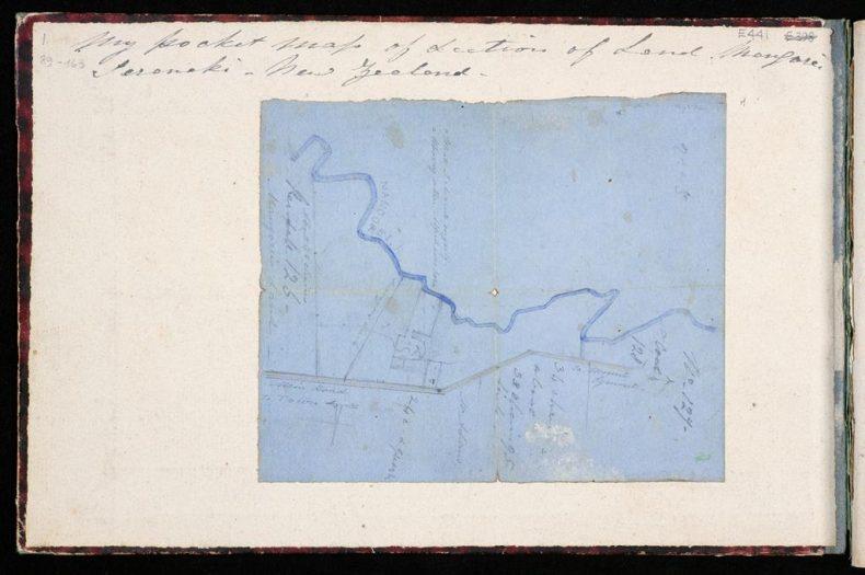 Artist's map of the land he owned at Mangorei, Taranaki