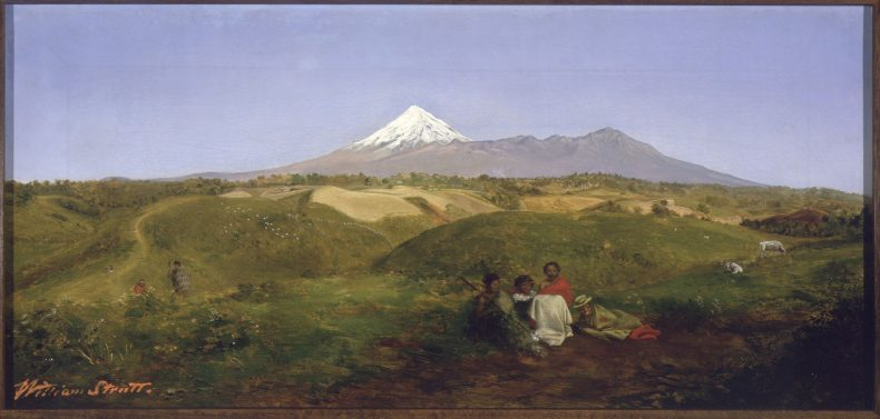 View of Mt Taranaki with groupd of Maori in foreground