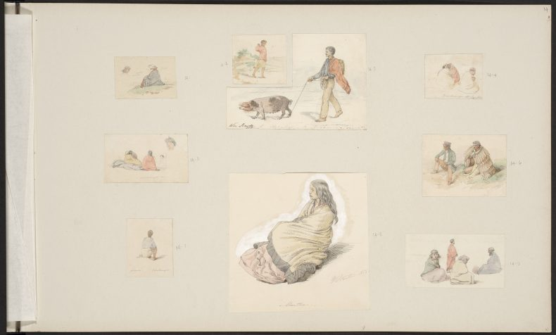 Strutt, William, 1825-1915. [Strutt, William] 1825-1915 :[Studies of Maori, from Onehunga and Taranaki] 1856. Strutt, William 1825-1915 :A collection of drawings in water colour ink and pencil illustrative of the scenery and early life of settlers and Maoris of New Zealand. 1855-1863. 1st series.. Ref: E-452-f-014. Alexander Turnbull Library, Wellington, New Zealand. http://natlib.govt.nz/records/22574340