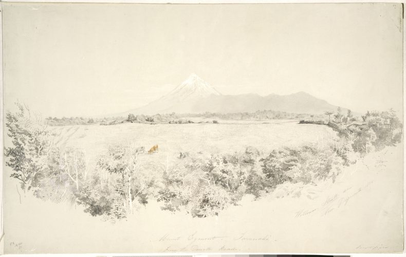 Strutt, William 1825-1915 :Mount Egmont, Taranaki, from the Omata Road. 1855. Strutt, William 1825-1915 :A collection of drawings in water colour ink and pencil illustrative of the scenery and early life of settlers and Maoris of New Zealand. 1855-1863. 1st series.. Ref: E-452-f-001. Alexander Turnbull Library, Wellington, New Zealand. http://natlib.govt.nz/records/23254966